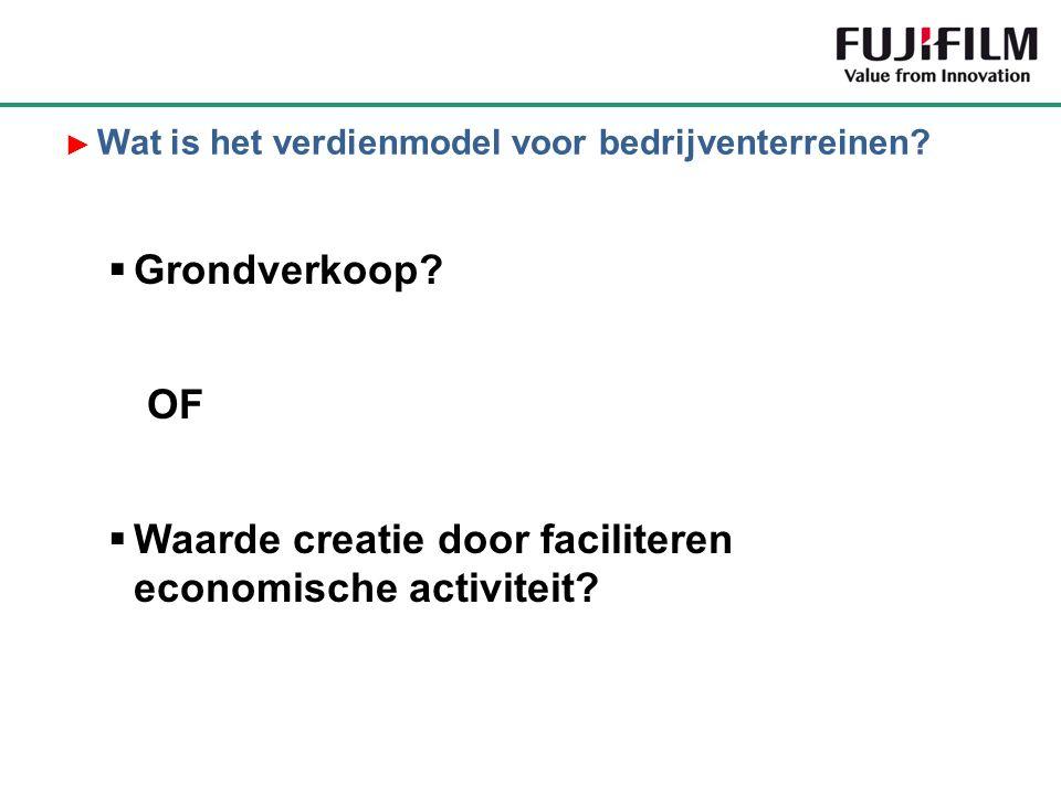  Grondverkoop? OF  Waarde creatie door faciliteren economische activiteit? ► Wat is het verdienmodel voor bedrijventerreinen?