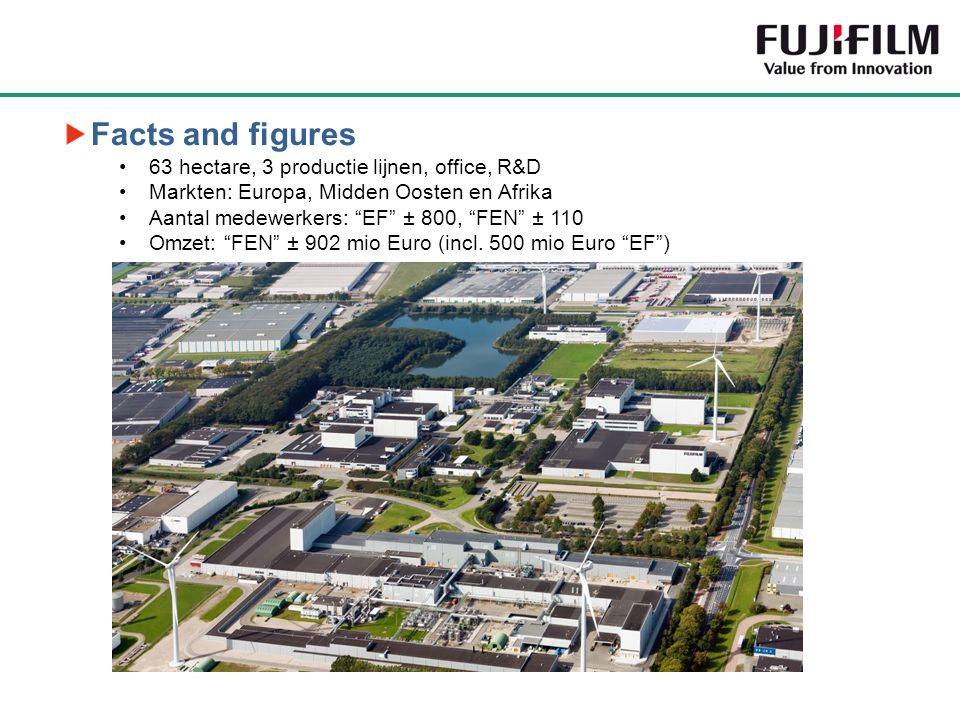 """Facts and figures 63 hectare, 3 productie lijnen, office, R&D Markten: Europa, Midden Oosten en Afrika Aantal medewerkers: """"EF"""" ± 800, """"FEN"""" ± 110 Omz"""
