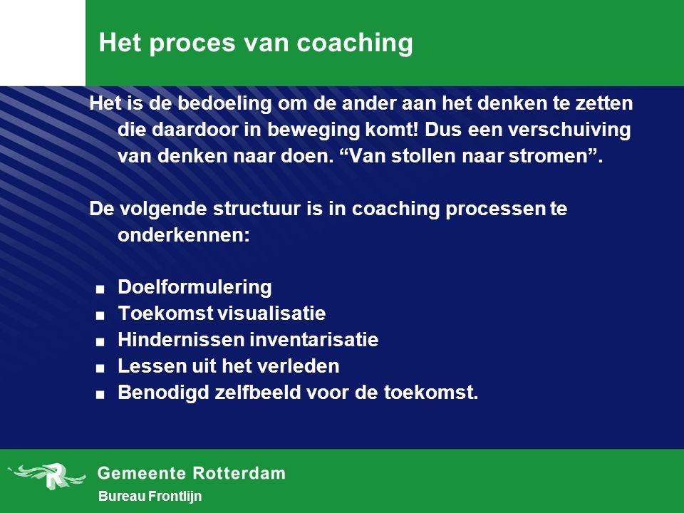 Bureau Frontlijn Het proces van coaching Het is de bedoeling om de ander aan het denken te zetten die daardoor in beweging komt.