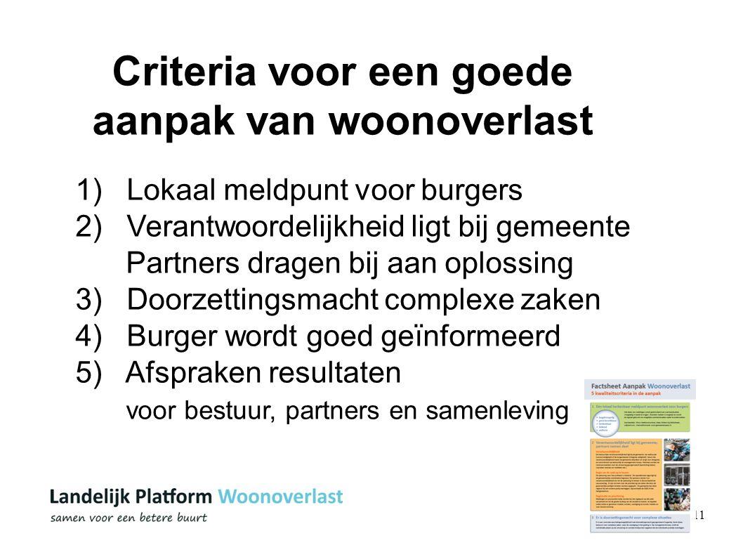 11 Criteria voor een goede aanpak van woonoverlast 1) Lokaal meldpunt voor burgers 2) Verantwoordelijkheid ligt bij gemeente Partners dragen bij aan o