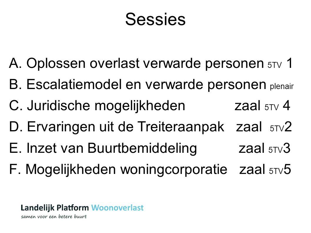 Sessies A. Oplossen overlast verwarde personen 5TV 1 B. Escalatiemodel en verwarde personen plenair C. Juridische mogelijkheden zaal 5TV 4 D. Ervaring