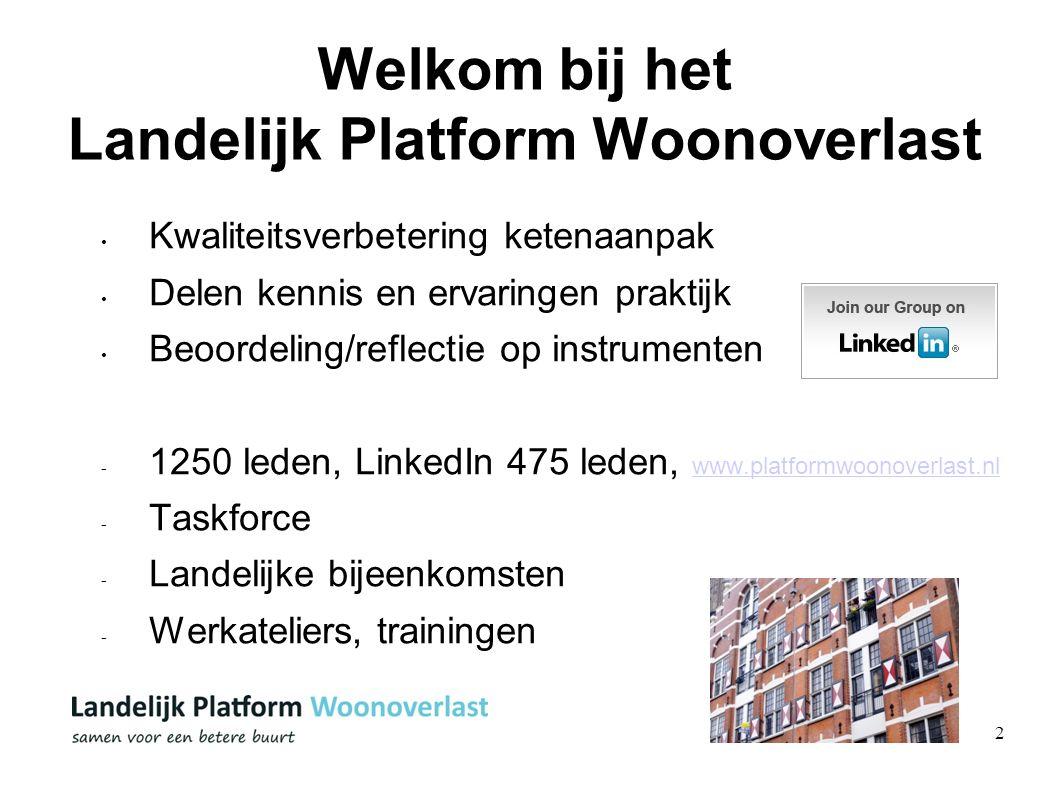2 Welkom bij het Landelijk Platform Woonoverlast Kwaliteitsverbetering ketenaanpak Delen kennis en ervaringen praktijk Beoordeling/reflectie op instru
