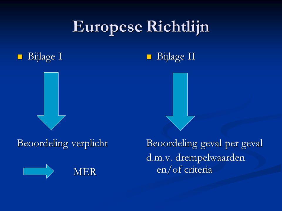 Europese Richtlijn Bijlage I Bijlage I Beoordeling verplicht MER Bijlage II Beoordeling geval per geval d.m.v. drempelwaarden en/of criteria