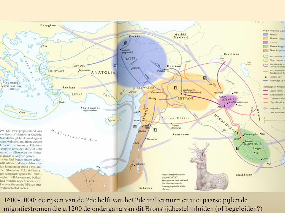 1600-1000: de rijken van de 2de helft van het 2de millennium en met paarse pijlen de migratiestromen die c.1200 de ondergang van dit Bronstijdbestel i