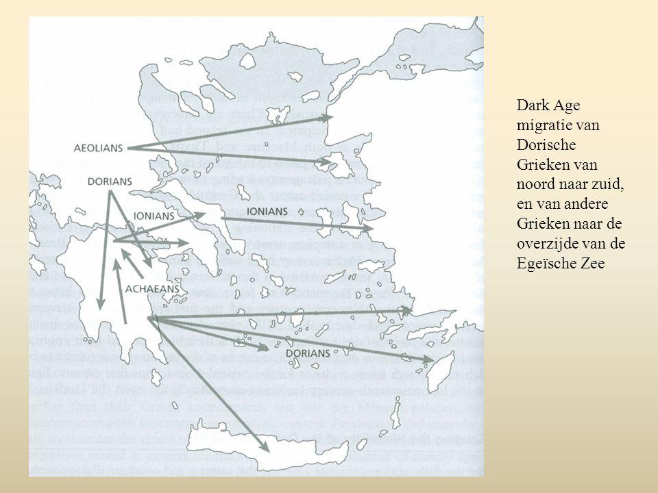 Dark Age migratie van Dorische Grieken van noord naar zuid, en van andere Grieken naar de overzijde van de Egeïsche Zee