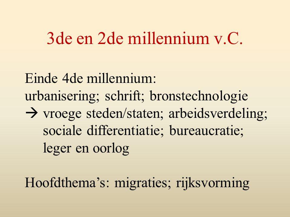 3de en 2de millennium v.C. Einde 4de millennium: urbanisering; schrift; bronstechnologie  vroege steden/staten; arbeidsverdeling; sociale differentia