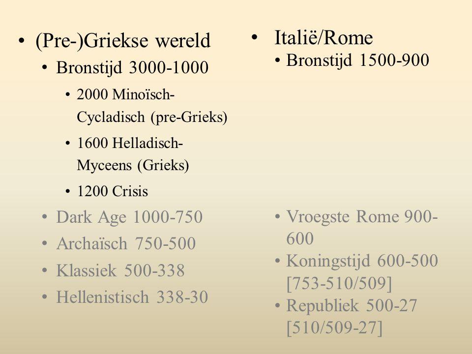 (Pre-)Griekse wereld Bronstijd 3000-1000 2000 Minoïsch- Cycladisch (pre-Grieks) 1600 Helladisch- Myceens (Grieks) 1200 Crisis Dark Age 1000-750 Archaïsch 750-500 Klassiek 500-338 Hellenistisch 338-30 Italië/Rome Bronstijd 1500-900 Vroegste Rome 900- 600 Koningstijd 600-500 [753-510/509] Republiek 500-27 [510/509-27]