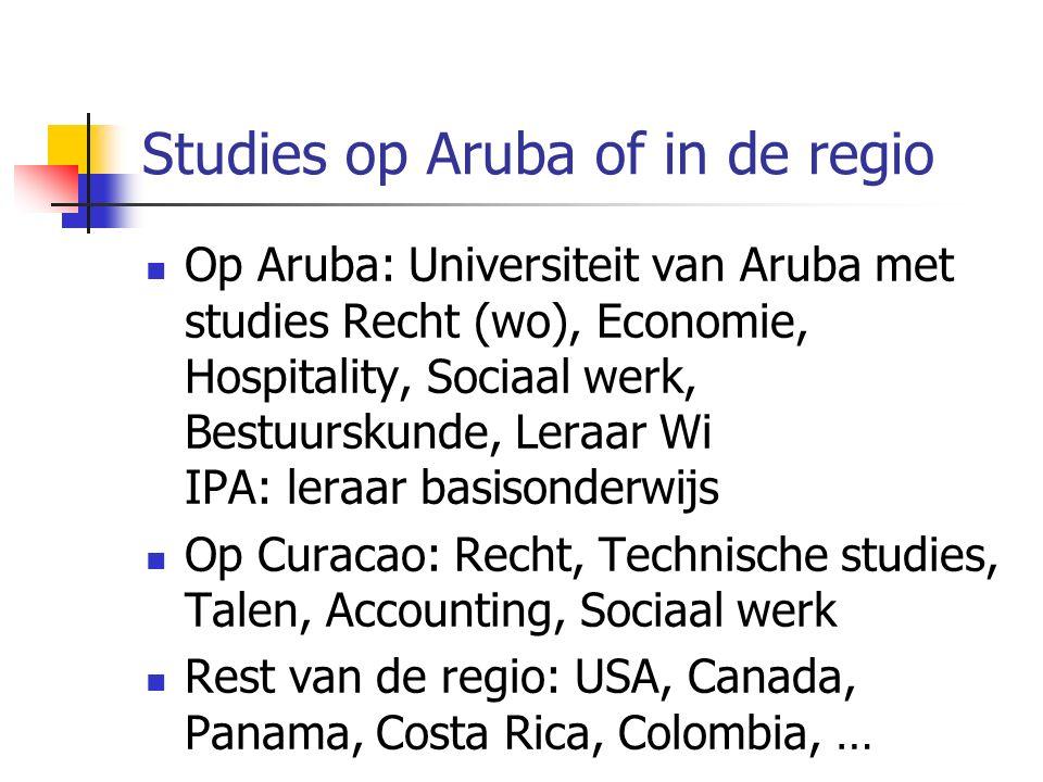 Studies op Aruba of in de regio Op Aruba: Universiteit van Aruba met studies Recht (wo), Economie, Hospitality, Sociaal werk, Bestuurskunde, Leraar Wi