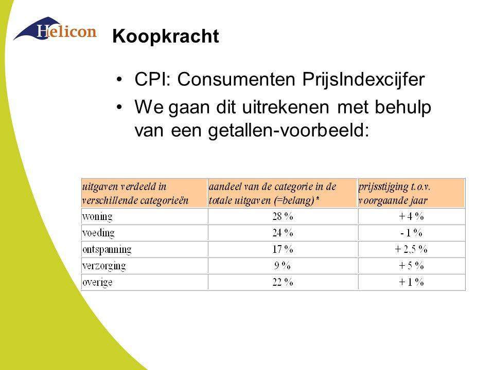 Koopkracht CPI: Consumenten PrijsIndexcijfer We gaan dit uitrekenen met behulp van een getallen-voorbeeld: