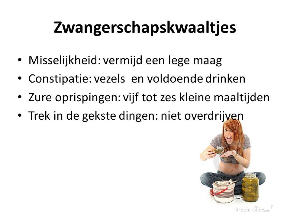 Zwangerschapskwaaltjes Misselijkheid: vermijd een lege maag Constipatie: vezels en voldoende drinken Zure oprispingen: vijf tot zes kleine maaltijden Trek in de gekste dingen: niet overdrijven 7