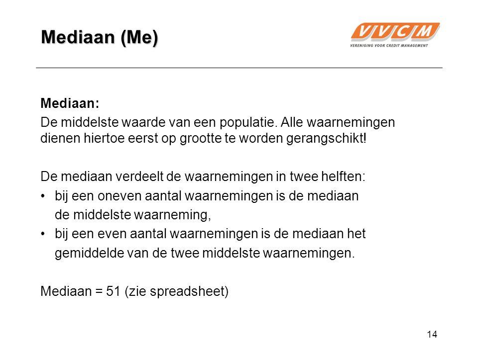 14 Mediaan (Me) Mediaan: De middelste waarde van een populatie.