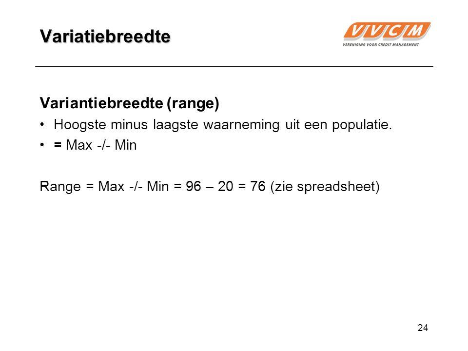 24 Variatiebreedte Variantiebreedte (range) Hoogste minus laagste waarneming uit een populatie.