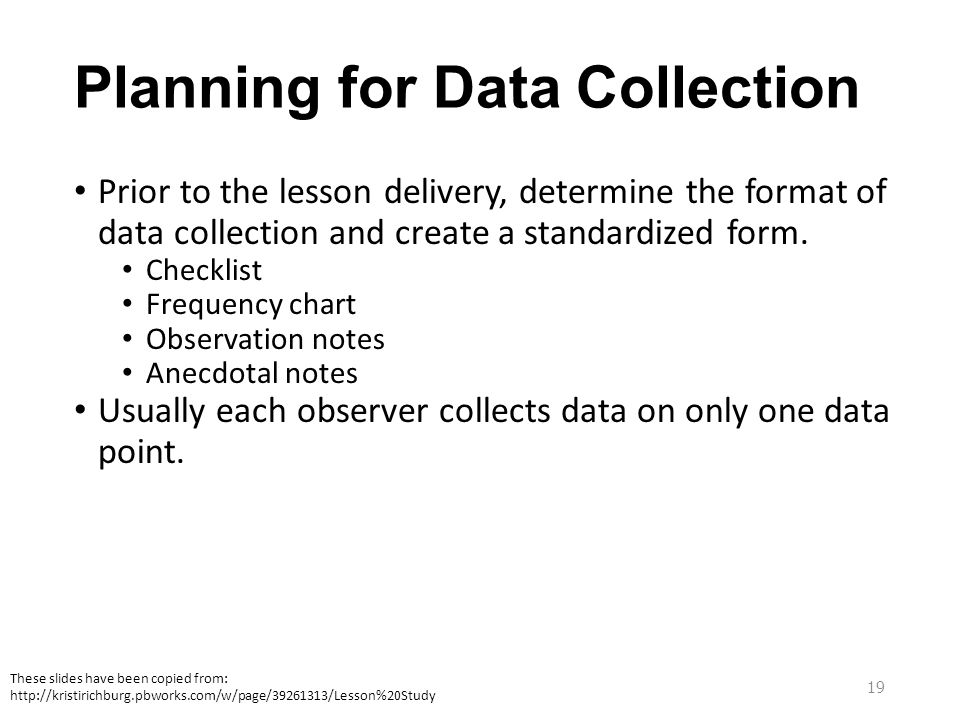 Planning for Data Collection Prior to the lesson delivery, determine the format of data collection and create a standardized form. Checklist Frequency