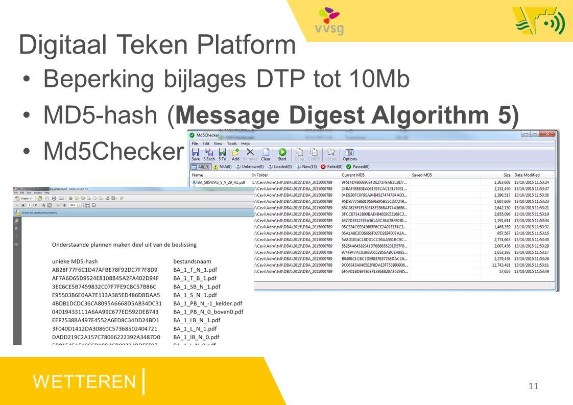 WETTEREN Digitaal Teken Platform 11 Beperking bijlages DTP tot 10Mb MD5-hash (Message Digest Algorithm 5) Md5Checker
