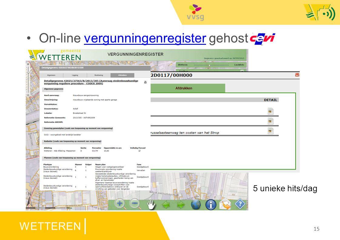 WETTEREN 15 On-line vergunningenregister gehost bijvergunningenregister 5 unieke hits/dag