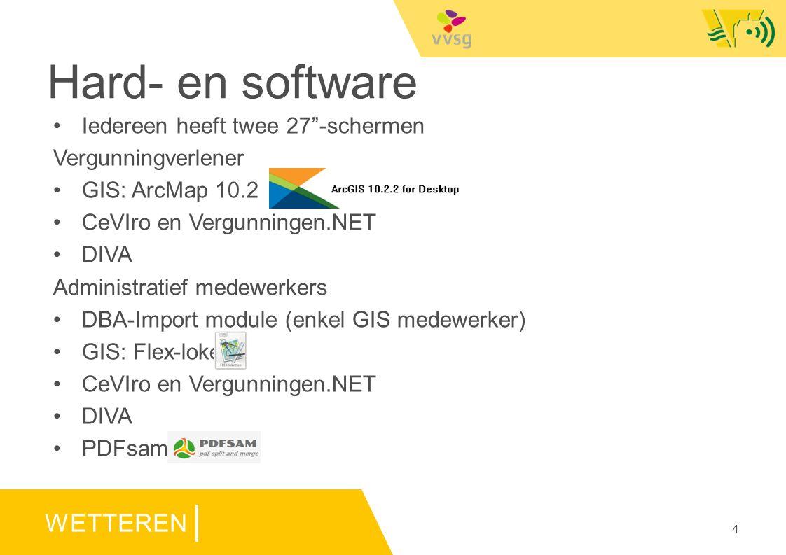 WETTEREN Hard- en software Iedereen heeft twee 27 -schermen Vergunningverlener GIS: ArcMap 10.2 CeVIro en Vergunningen.NET DIVA Administratief medewerkers DBA-Import module (enkel GIS medewerker) GIS: Flex-loket CeVIro en Vergunningen.NET DIVA PDFsam 4