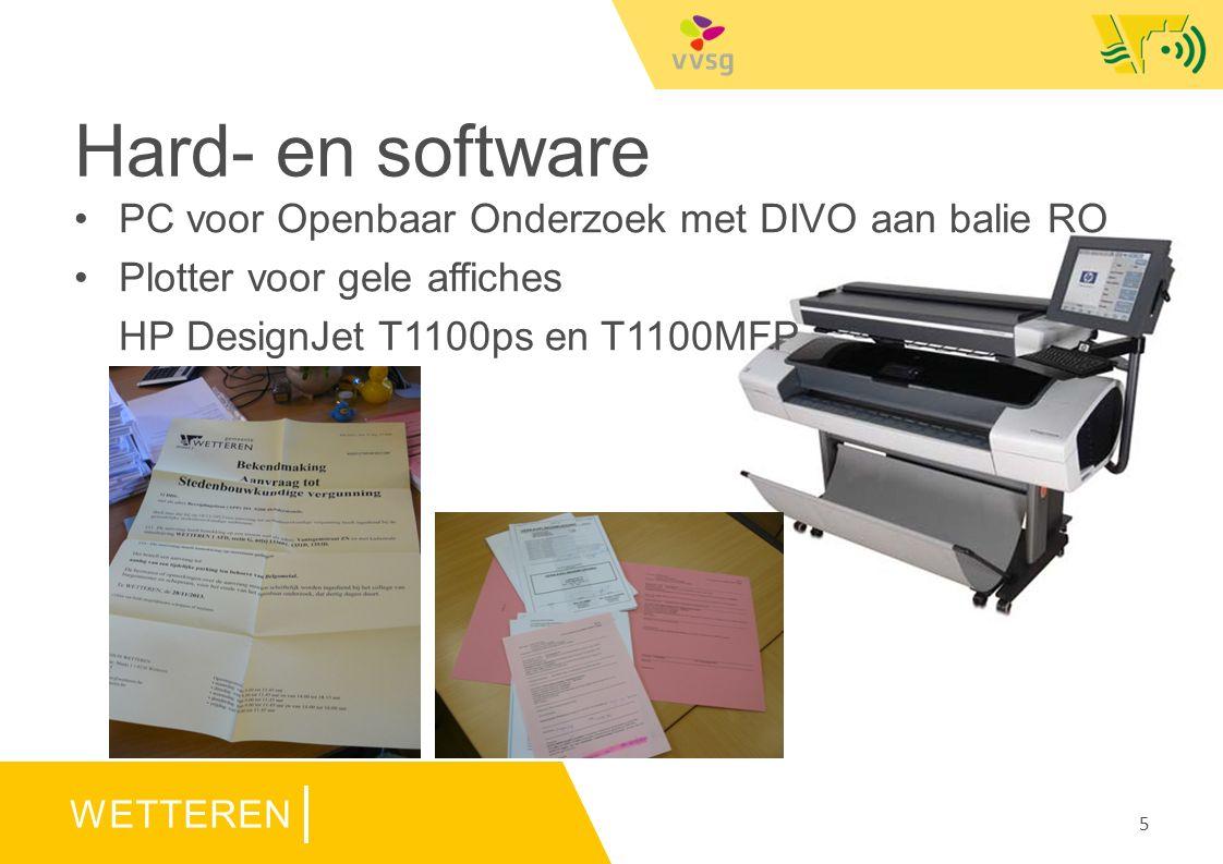 WETTEREN Hard- en software PC voor Openbaar Onderzoek met DIVO aan balie RO Plotter voor gele affiches HP DesignJet T1100ps en T1100MFP 5