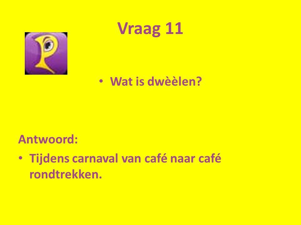 Vraag 11 Wat is dwèèlen? Antwoord: Tijdens carnaval van café naar café rondtrekken.