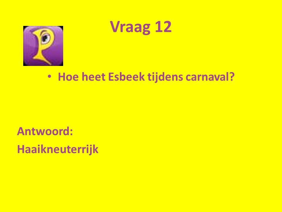Vraag 12 Hoe heet Esbeek tijdens carnaval Antwoord: Haaikneuterrijk