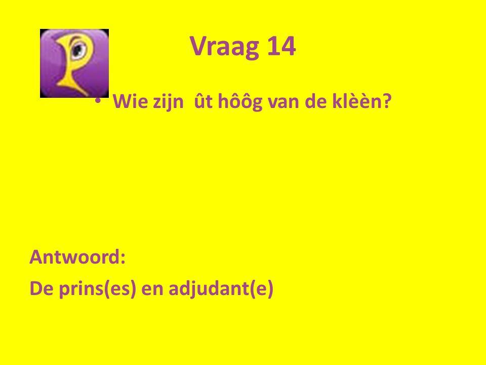 Vraag 14 Wie zijn ût hôôg van de klèèn? Antwoord: De prins(es) en adjudant(e)