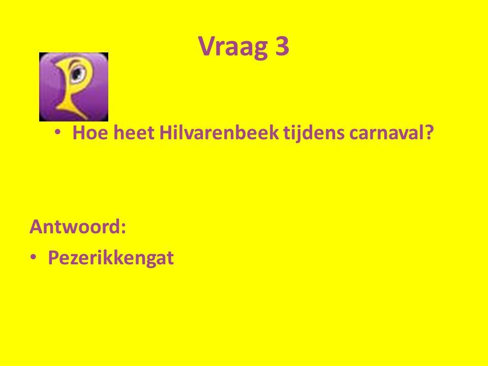 Vraag 3 Hoe heet Hilvarenbeek tijdens carnaval Antwoord: Pezerikkengat