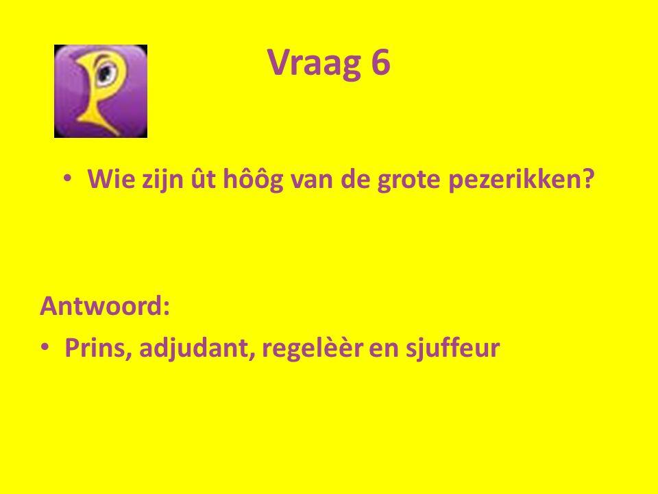 Vraag 6 Wie zijn ût hôôg van de grote pezerikken Antwoord: Prins, adjudant, regelèèr en sjuffeur