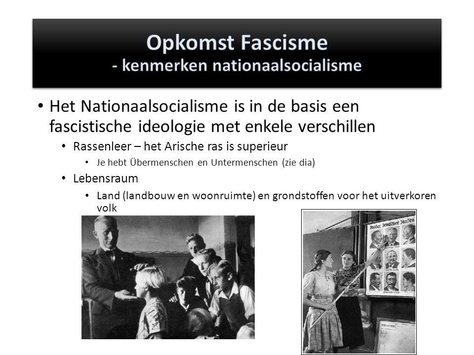 Het Nationaalsocialisme is in de basis een fascistische ideologie met enkele verschillen Rassenleer – het Arische ras is superieur Je hebt Übermenschen en Untermenschen (zie dia) Lebensraum Land (landbouw en woonruimte) en grondstoffen voor het uitverkoren volk