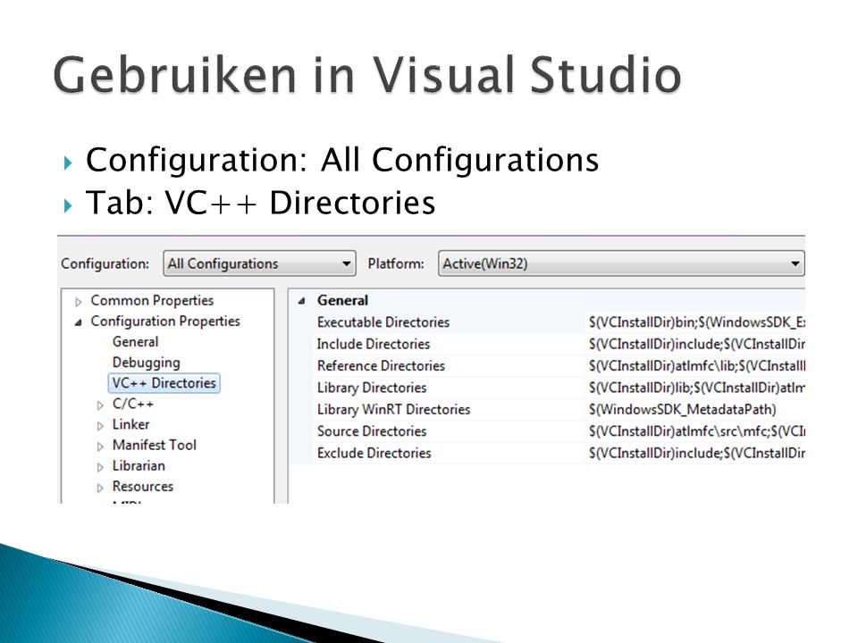  Configuration: All Configurations  Tab: VC++ Directories