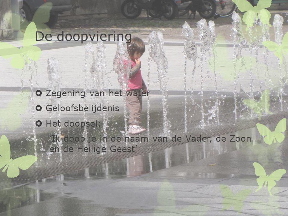 De doopviering  Zegening van het water  Geloofsbelijdenis  Het doopsel: 'Ik doop je in de naam van de Vader, de Zoon en de Heilige Geest'