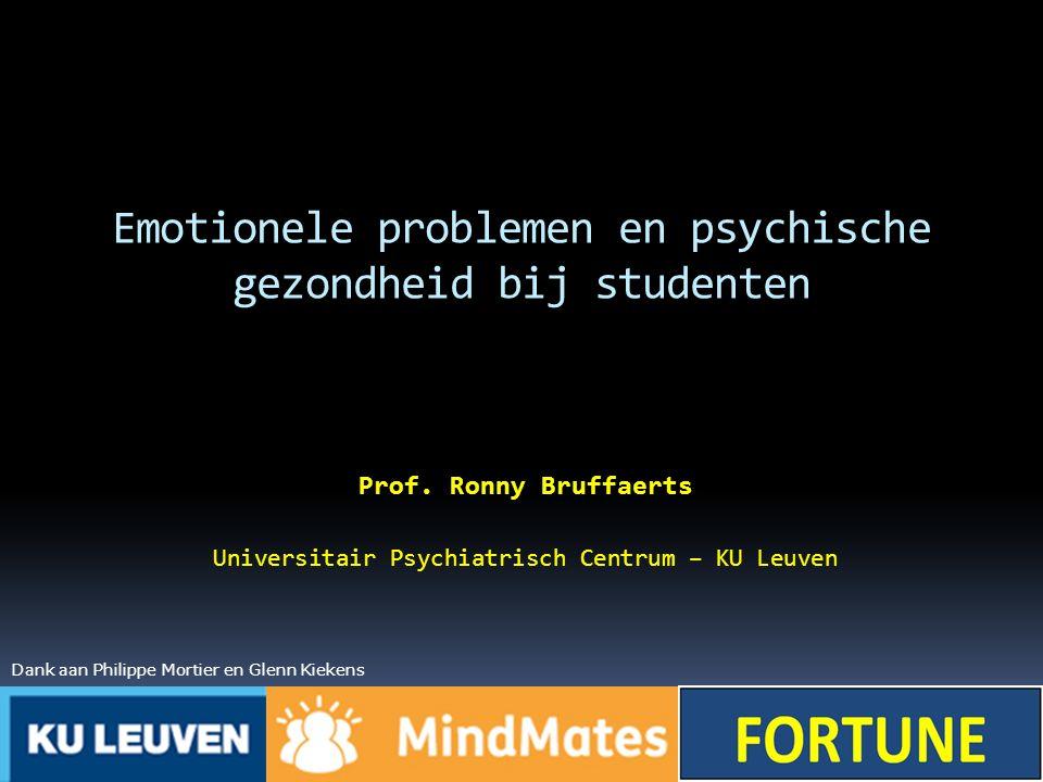Emotionele problemen en psychische gezondheid bij studenten Prof. Ronny Bruffaerts Universitair Psychiatrisch Centrum – KU Leuven Dank aan Philippe Mo