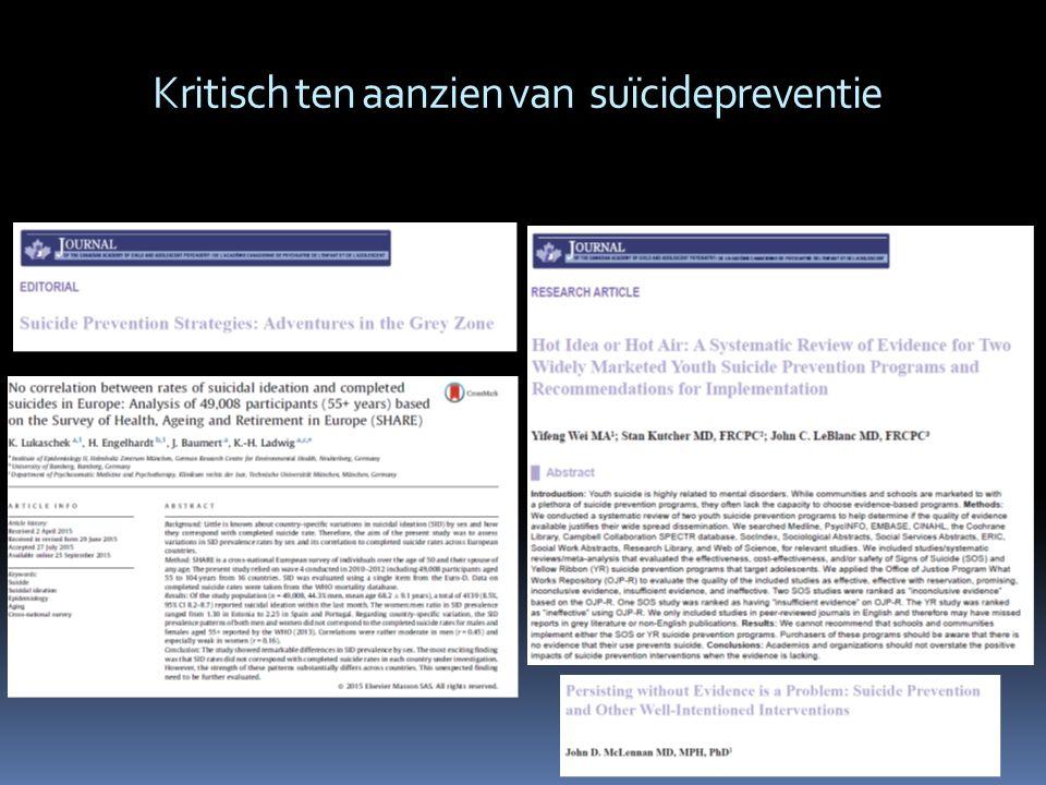 Kritisch ten aanzien van suïcidepreventie