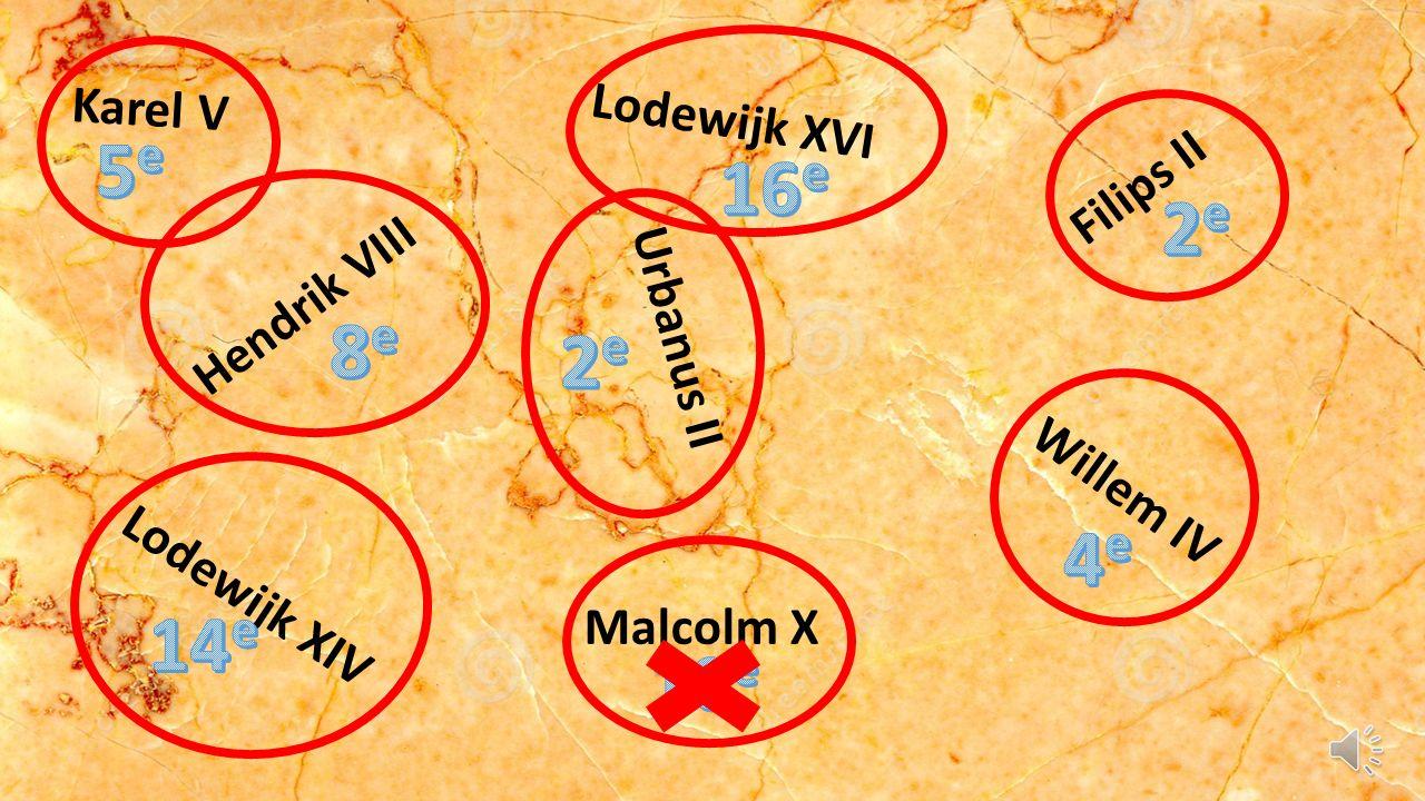 Hendrik VIII Urbanus II Karel V Lodewijk XIV Filips II Lodewijk XVI Malcolm X Willem IV