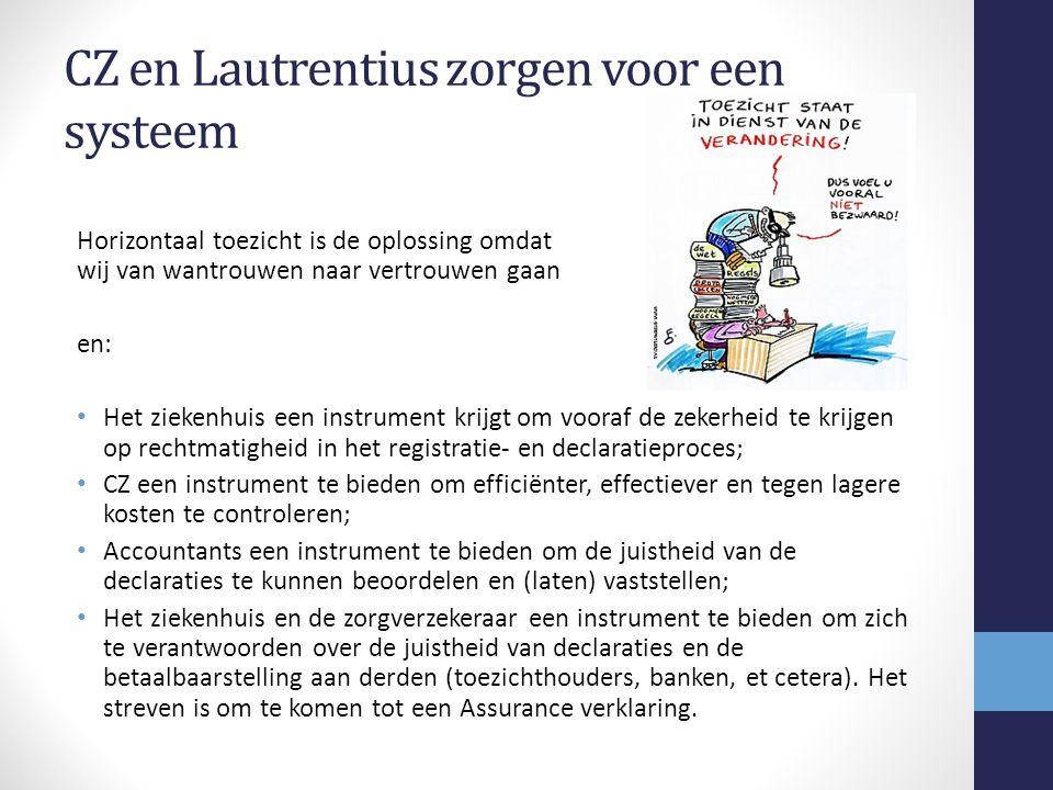 CZ en Lautrentius zorgen voor een systeem Horizontaal toezicht is de oplossing omdat wij van wantrouwen naar vertrouwen gaan en: Het ziekenhuis een instrument krijgt om vooraf de zekerheid te krijgen op rechtmatigheid in het registratie- en declaratieproces; CZ een instrument te bieden om efficiënter, effectiever en tegen lagere kosten te controleren; Accountants een instrument te bieden om de juistheid van de declaraties te kunnen beoordelen en (laten) vaststellen; Het ziekenhuis en de zorgverzekeraar een instrument te bieden om zich te verantwoorden over de juistheid van declaraties en de betaalbaarstelling aan derden (toezichthouders, banken, et cetera).