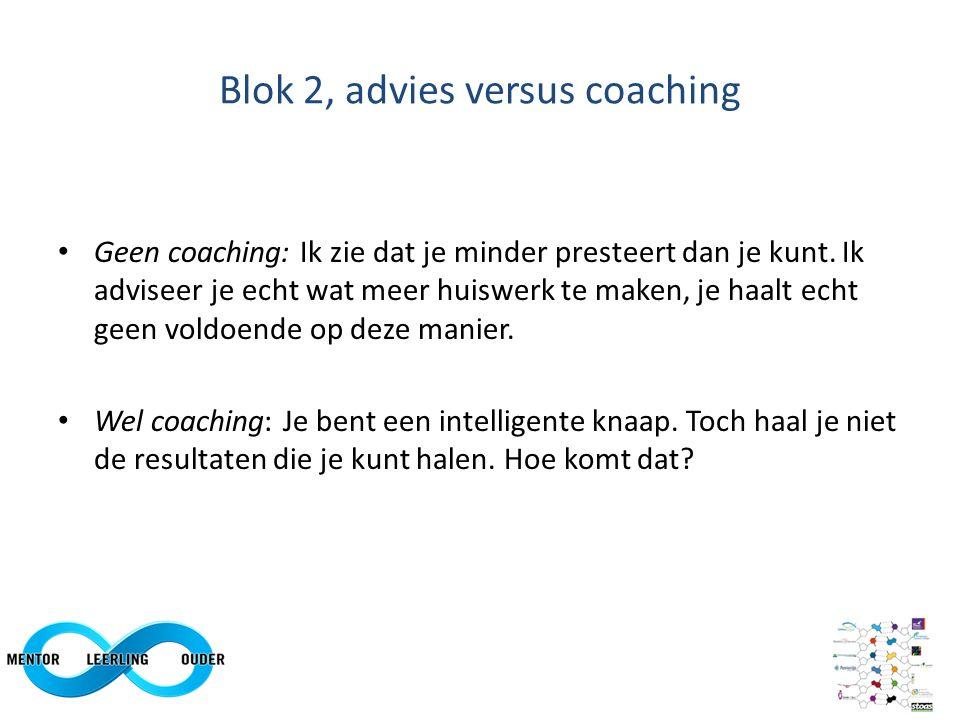 Blok 2: Advies versus coaching: fases in coaching Mentoring Klankborden Confronteren & spiegelen Zelfbeoordeling en loopbaanontwikkeling