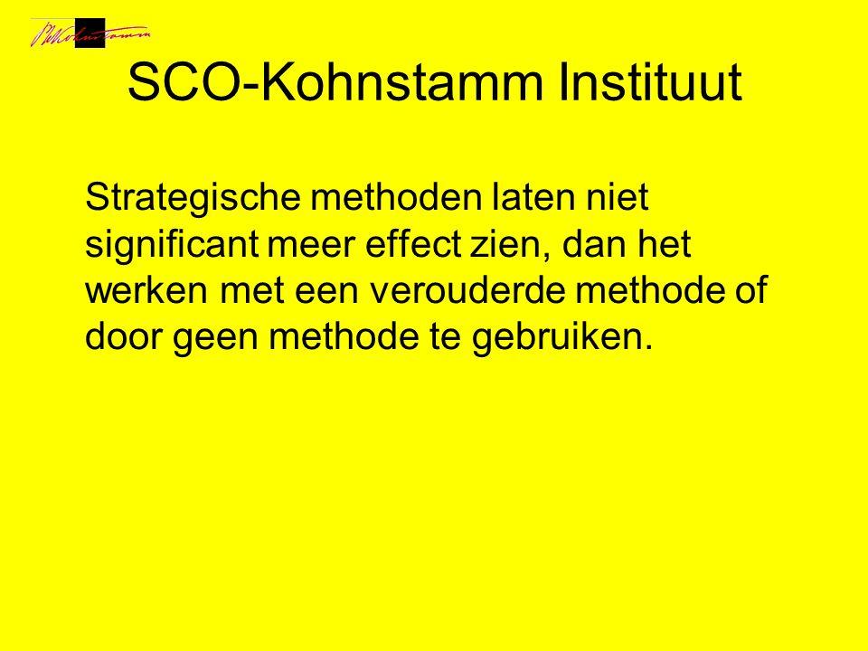 SCO-Kohnstamm Instituut Strategische methoden laten niet significant meer effect zien, dan het werken met een verouderde methode of door geen methode