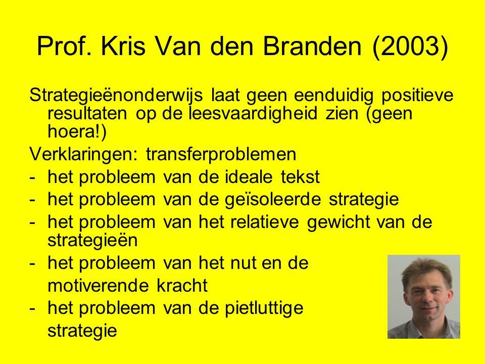 Prof. Kris Van den Branden (2003) Strategieënonderwijs laat geen eenduidig positieve resultaten op de leesvaardigheid zien (geen hoera!) Verklaringen: