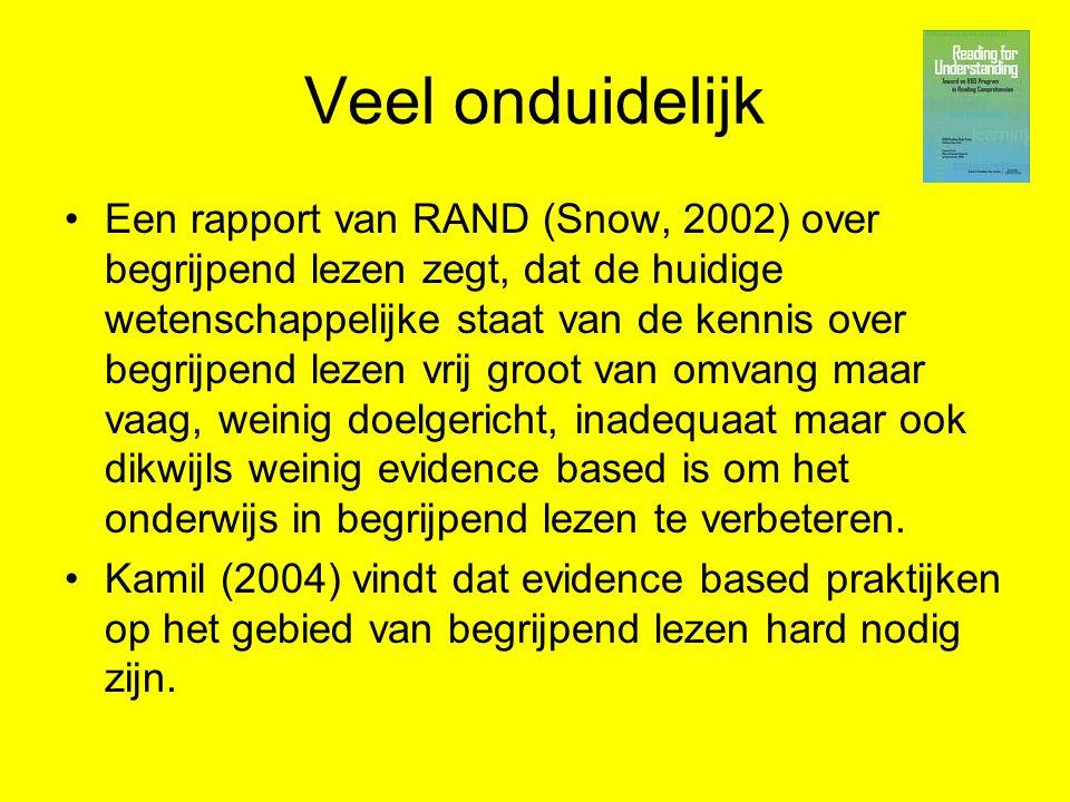 Veel onduidelijk Een rapport van RAND (Snow, 2002) over begrijpend lezen zegt, dat de huidige wetenschappelijke staat van de kennis over begrijpend le