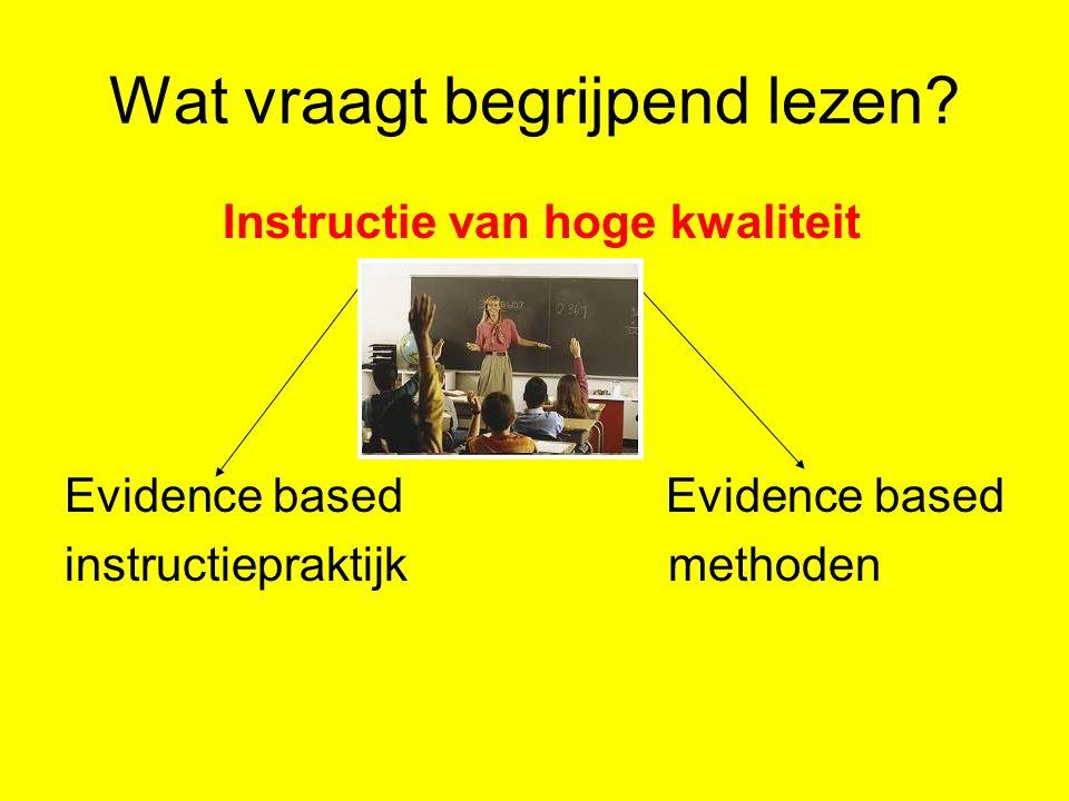 Wat vraagt begrijpend lezen? Instructie van hoge kwaliteit Evidence based instructiepraktijk methoden