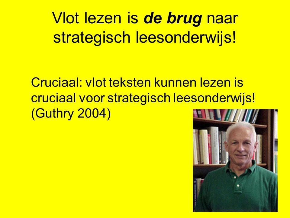 Vlot lezen is de brug naar strategisch leesonderwijs! Cruciaal: vlot teksten kunnen lezen is cruciaal voor strategisch leesonderwijs! (Guthry 2004)