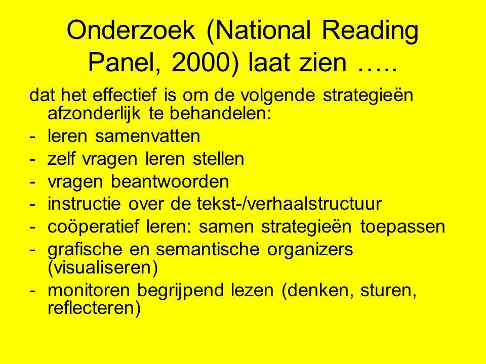 Onderzoek (National Reading Panel, 2000) laat zien ….. dat het effectief is om de volgende strategieën afzonderlijk te behandelen: -leren samenvatten