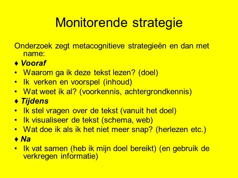 Monitorende strategie Onderzoek zegt metacognitieve strategieën en dan met name: ♦ Vooraf Waarom ga ik deze tekst lezen? (doel) Ik verken en voorspel