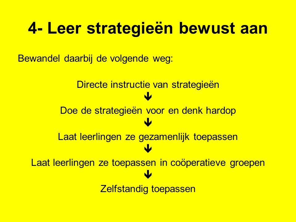 4- Leer strategieën bewust aan Bewandel daarbij de volgende weg: Directe instructie van strategieën  Doe de strategieën voor en denk hardop  Laat le