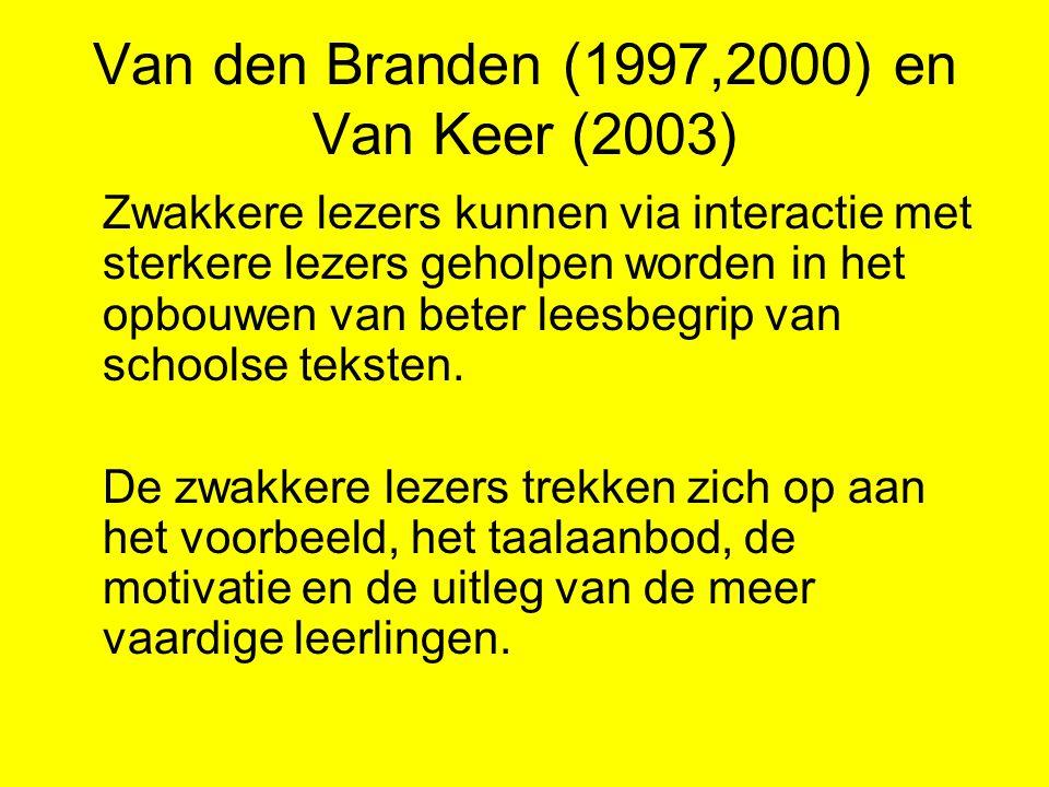 Van den Branden (1997,2000) en Van Keer (2003) Zwakkere lezers kunnen via interactie met sterkere lezers geholpen worden in het opbouwen van beter lee