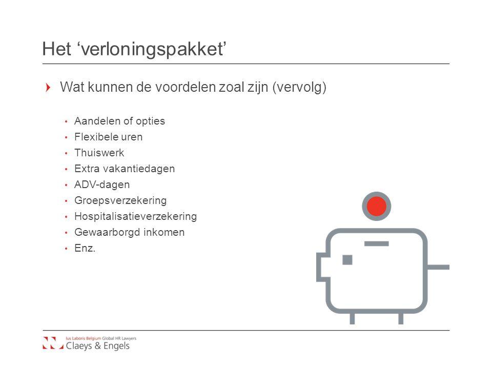 Het 'verloningspakket' Wat kunnen de voordelen zoal zijn (vervolg) Aandelen of opties Flexibele uren Thuiswerk Extra vakantiedagen ADV-dagen Groepsverzekering Hospitalisatieverzekering Gewaarborgd inkomen Enz.