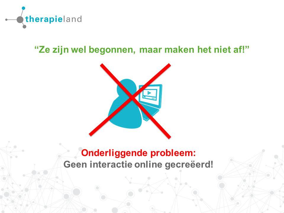 Ze zijn wel begonnen, maar maken het niet af! Onderliggende probleem: Geen interactie online gecreëerd!