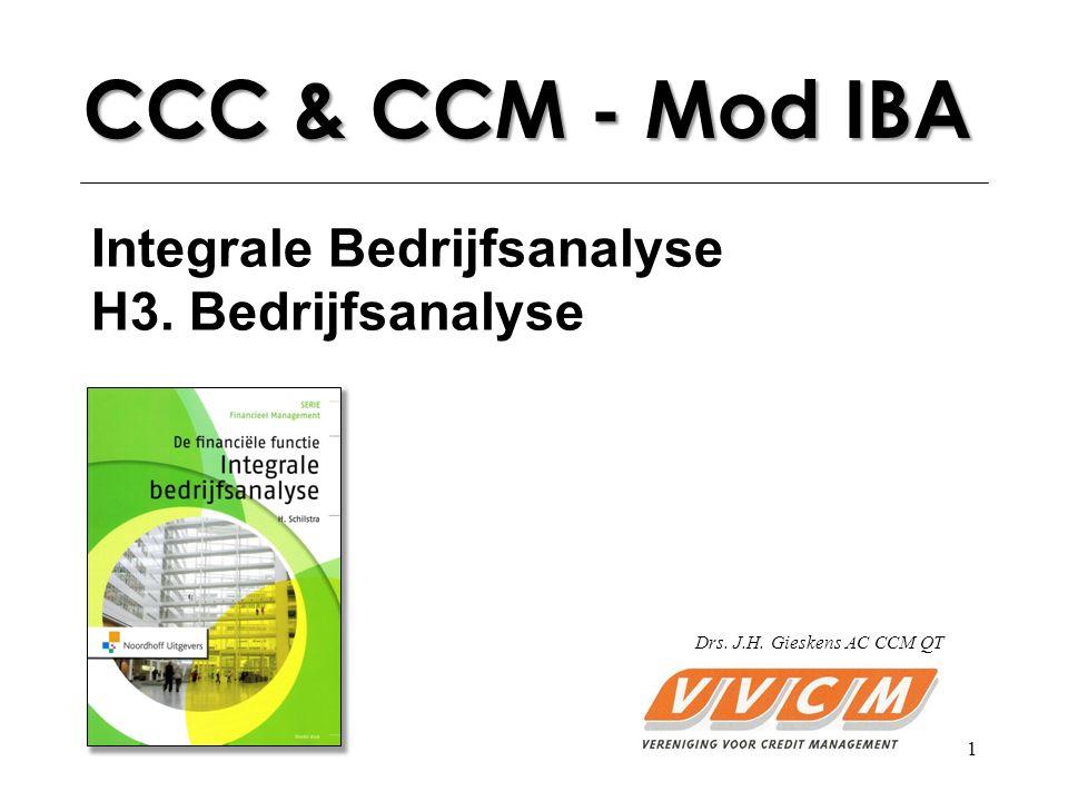 1 CCC & CCM - Mod IBA Integrale Bedrijfsanalyse H3. Bedrijfsanalyse Drs. J.H. Gieskens AC CCM QT