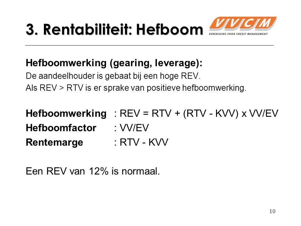 10 Hefboomwerking (gearing, leverage): De aandeelhouder is gebaat bij een hoge REV.