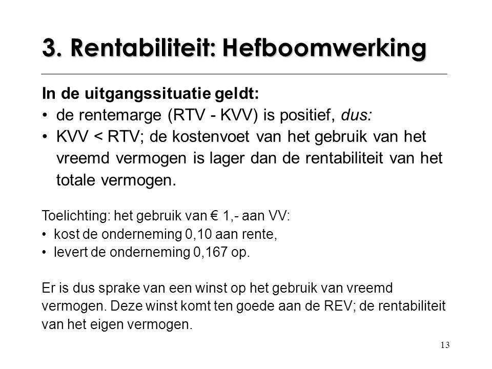 13 In de uitgangssituatie geldt: de rentemarge (RTV - KVV) is positief, dus: KVV < RTV; de kostenvoet van het gebruik van het vreemd vermogen is lager dan de rentabiliteit van het totale vermogen.
