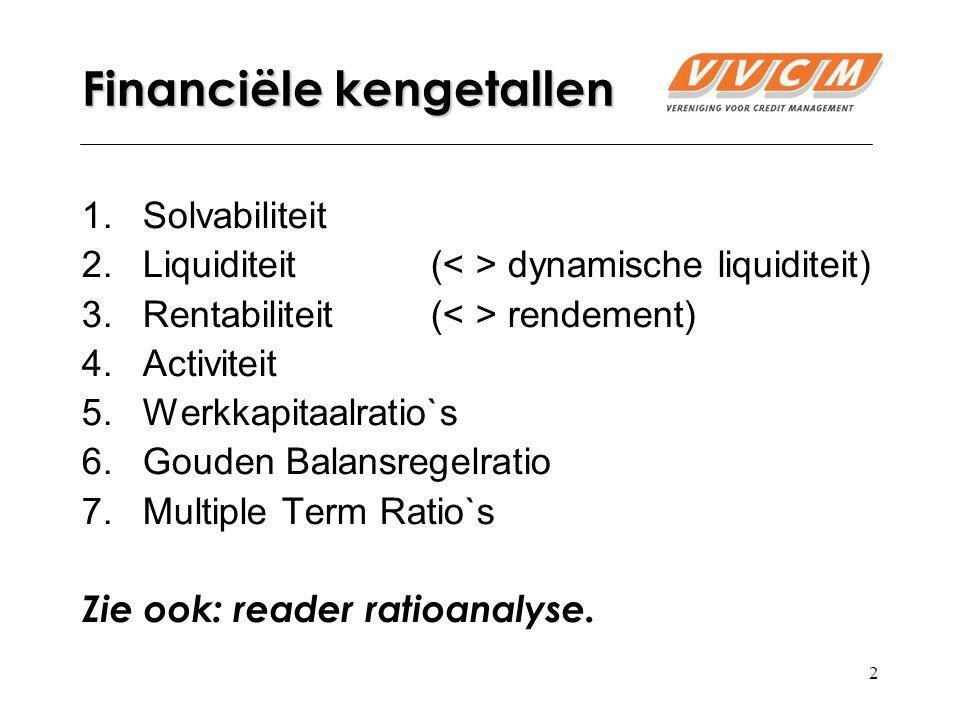 2 Financiële kengetallen 1.Solvabiliteit 2.Liquiditeit( dynamische liquiditeit) 3.Rentabiliteit ( rendement) 4.Activiteit 5.Werkkapitaalratio`s 6.Gouden Balansregelratio 7.Multiple Term Ratio`s Zie ook: reader ratioanalyse.
