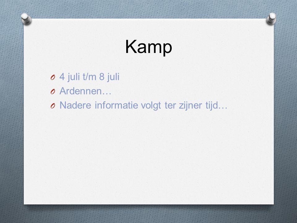 Kamp O 4 juli t/m 8 juli O Ardennen… O Nadere informatie volgt ter zijner tijd…